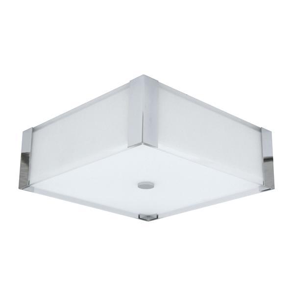 """Plafonnier carré à 3 lumières, 4,7"""" x 14"""", chrome poli"""