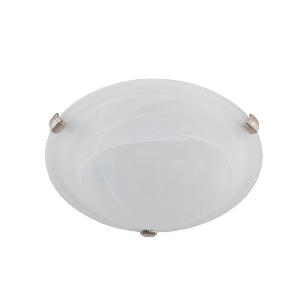 Plafonnier standard à 2 lumières DEL, verre effet de marbre