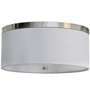 Whitfield Lighting Flush Mount Light - 2 LED Lights - 6-in x 16-in - White Fabric