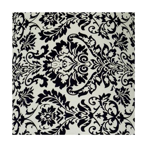 """Abat-jour Modena, 22"""" x 7"""", motif damassé noir sur blanc"""