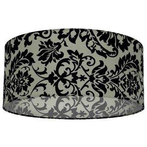 Whitfield Lighting Modena Lamp Shade - 16-in x 7-in - Black/Grey Damask Pattern