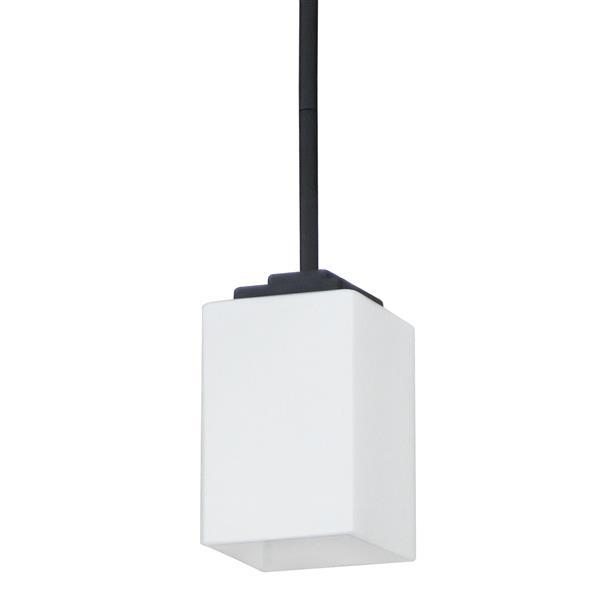 """Luminaire suspendu à 1 lumière, 7,6"""", verre blanc, noir"""