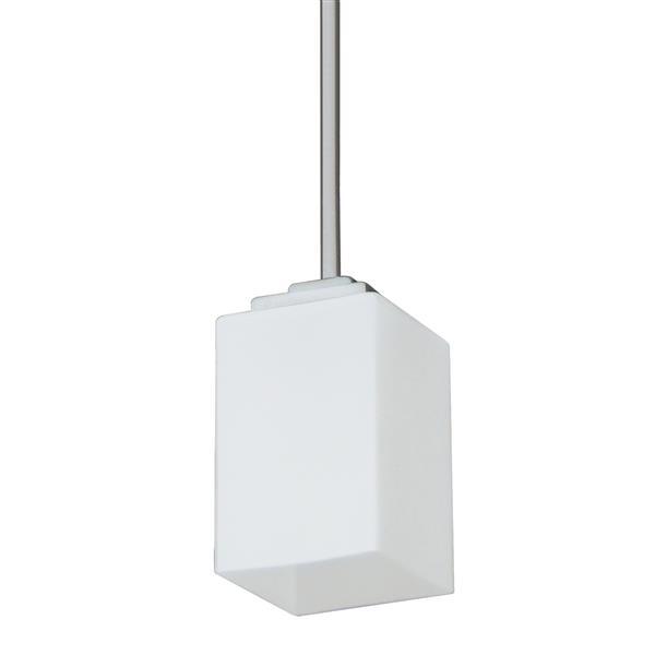 """Luminaire suspendu à 1 lumière, 7,6"""", verre blanc, acier satiné"""