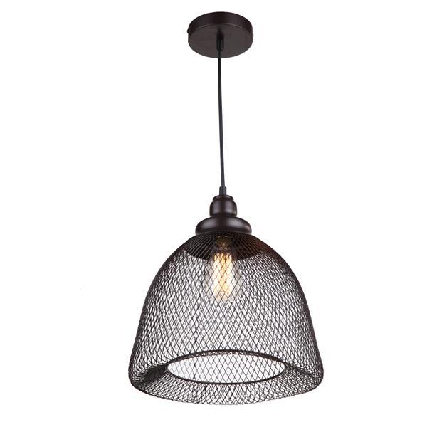 """Luminaire suspendu à 1 lumière, 12,8"""" x 13"""", brun"""