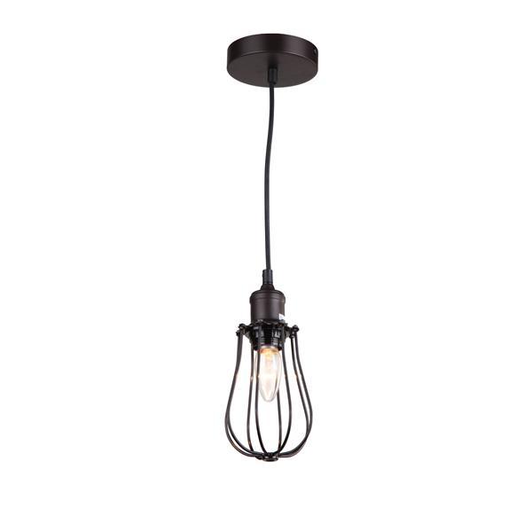 """Luminaire suspendu à 1 lumière, 6,3"""" x 4,5"""", brun"""