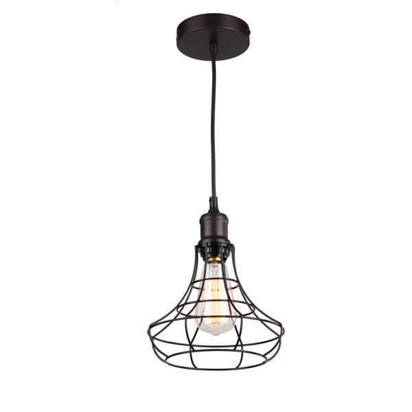 "Luminaire suspendu à 1 lumière, 7"" x 8,3"", bronze"