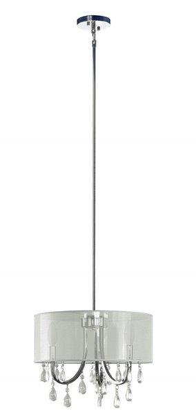 """Lustre à 3 lumières avec abat-jour, 12,85"""" x 15,75"""", chrome"""