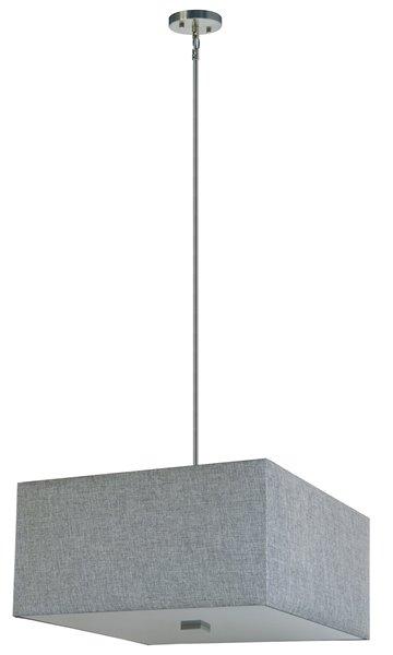 """Lustre à 4 lumières avec abat-jour, 12"""" x 24"""", gris"""