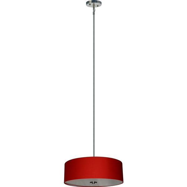 Lustre Whitfield à 4 lumières avec abat-jour, 7 po x 22 po, chrome/rouge