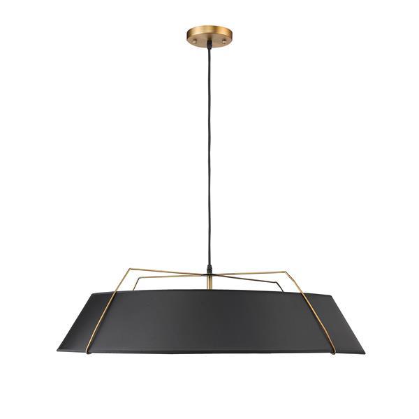 Lustre Whitfield à 5 lumières, 9 po x 30,5 po, noir/or