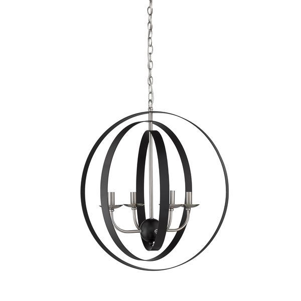 Whitfield Lighting Erinne Chandelier - 4 Lights - 23-in - Black/Satin Steel
