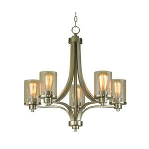 Whitfield Lighting Iris Chandelier - 5 Lights - 24-in - Shaded Glass