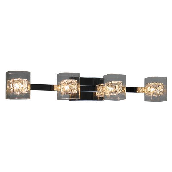 """Luminaire pour meuble-lavabo, 4 lumières, 32,3"""", chrome"""