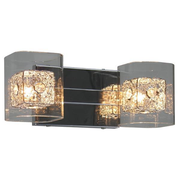 """Luminaire pour meuble-lavabo, 2 lumières, 13,4"""", chrome"""