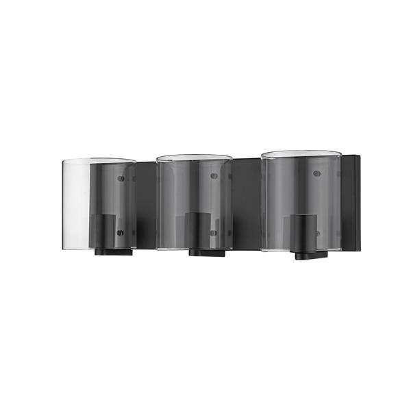 """Luminaire de salle de bain à 3 lumières, 19,5"""", noir"""