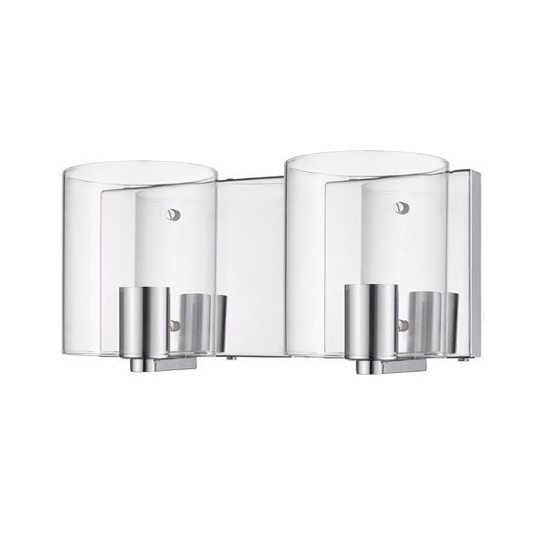 """Luminaire de salle de bain à 2 lumières, 12,5"""", chrome poli"""