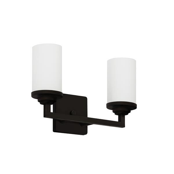 """Luminaire de salle de bain à 2 lumières, 15"""", bronze ébène"""