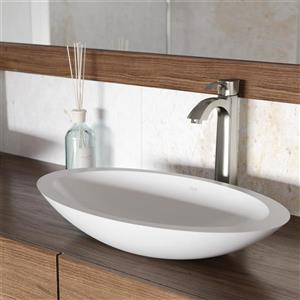 Ensemble de vasque de salle de bainet robinet, blanc