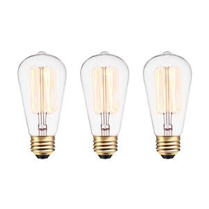 Edison S60 Incandescent Filament Bulb - Pack of 3