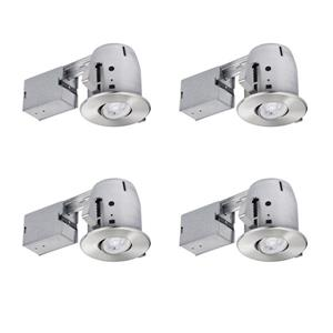 "Globe Electric Recessed Lighting Kit with LED bulb - 4"" - Nickel"