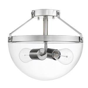 """Plafonnier semi-encastré Belsize, 2 lumières, 10,5"""", nickel"""