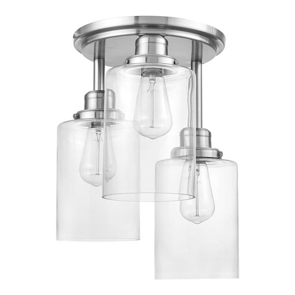 """Plafonnier semi-encastré Annecy, 3 lumières, 15,4"""", nickel"""