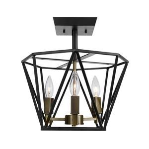 """Plafonnier semi-encastré Sansa, 3 lumières, 13,58"""", bronze"""