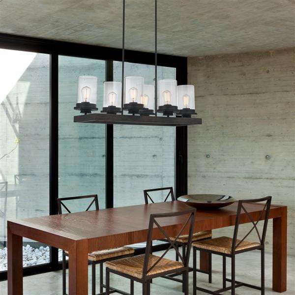 """Chandelier Williamsburg, 6 lumières, 60,52"""", brun"""