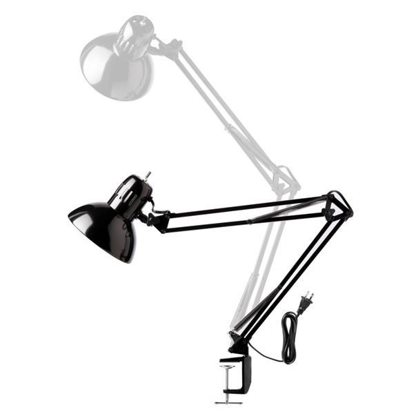 """Lampe de bureau à bras pivotants, 32"""", métal, noir"""