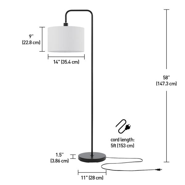 "Globe Electric Barden Floor Lamp - 58"" - Metal - Black"