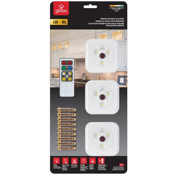 Rondelles lumineuses sous-cabinet DEL, blanc, paquet de 3
