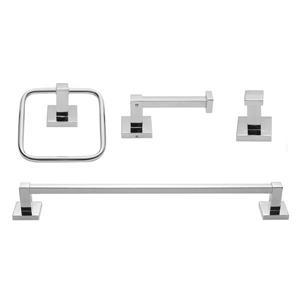 Ens. d'accessoires pour salle de bain Finn, chrome, 4 pièces