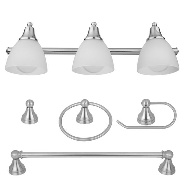 Bathroom Bath Set 5 Piece All in One 3 Light Vanity Oil Rubbed Bronze Frosted