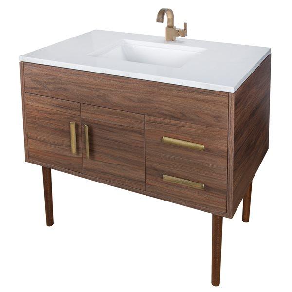 "Garland Bathroom Vanity - 36"" x 36"" - Brass - Brown"