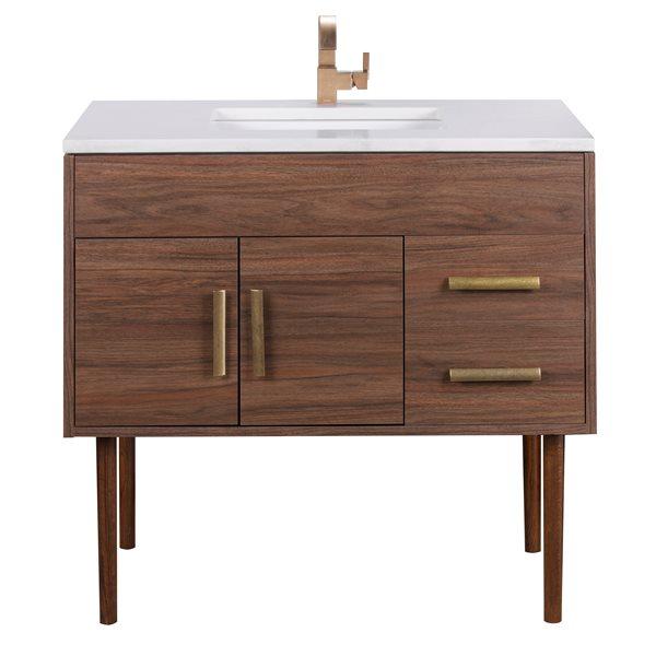 """Vanité de salle de bain Garland, 36'' x 36"""", laiton, brun"""