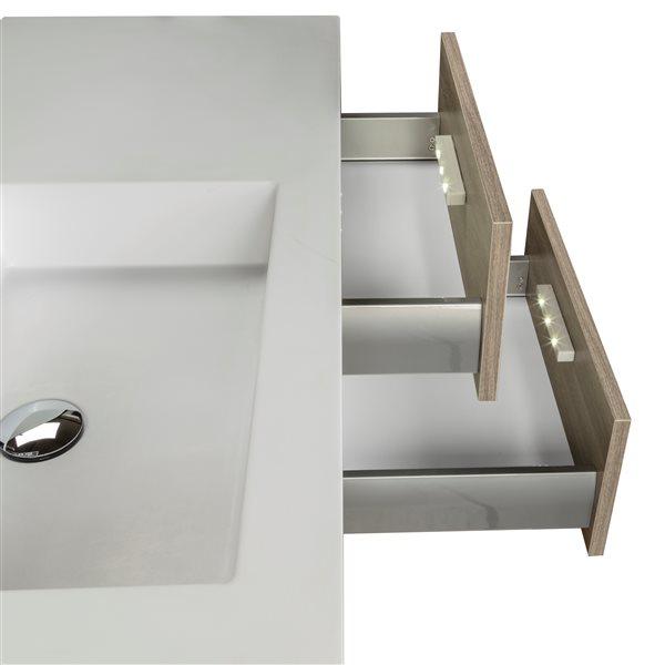 "Cutler Kitchen & Bath Beachwood Wall Mount Vanity - 42"" x 20"" - Beige"