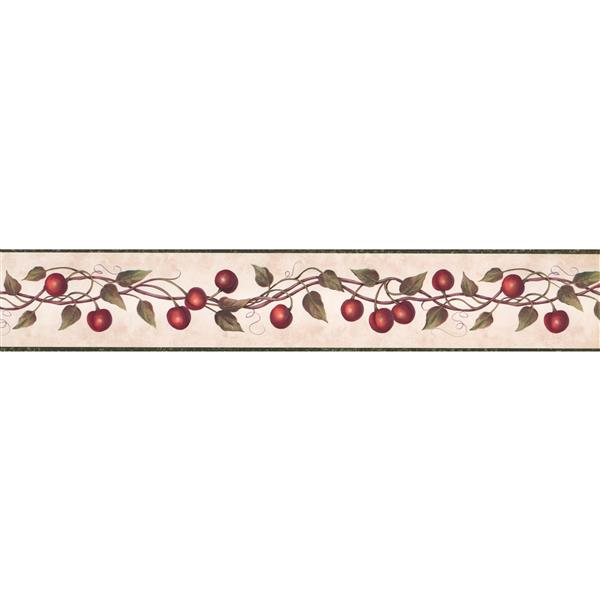 "Chesapeake Wallpaper Border - 15' x 4"" - Red Cherry on Vine - Coconut"