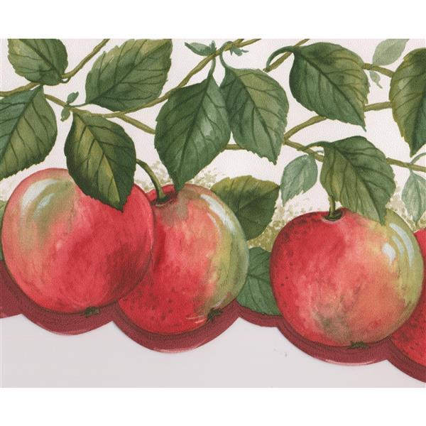Norwall Wallpaper Border - 15' x 6.75-in- Apples on Vine - Red/Green