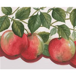 Norwall Wallpaper Border - 15' x 6.75-in- Apples on Vine - Red/Green
