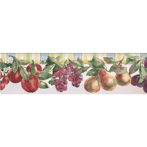 Norwall Wallpaper Border - 15' x 6.75-in- Faux Paint with Fruits