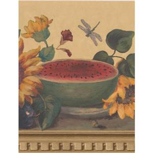 "Retro Art Wallpaper Border- 15' x 9.1"" -Sunflowers/Butterflies - Beige"