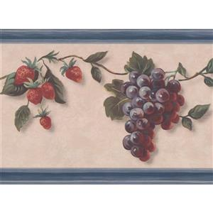 "Retro Art Wallpaper Border - 15' x 7"" - Fruits on Vine - Beige"