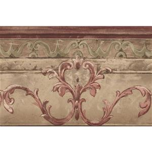 Norwall Wallpaper Border - 15' x 7-in- Victorian Damask -Purple/Beige