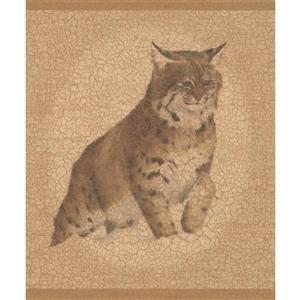 "Retro Art Wallpaper Border - 15' x 10.25"" - Fox Wolf Lynx - Brown"