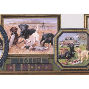 "Retro Art Wallpaper Border - 15' x 10"" - Retro Dogs in Framed Pictures"