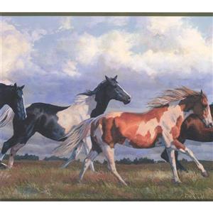 York Wallcoverings Wallpaper Border - 15-ft x 9.75-in - Wild Horses Running - Blue