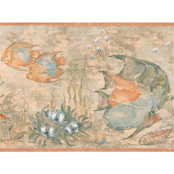 York Wallcoverings Wallpaper Border - 15-ft x 9-in - Fish in the Pond - Beige