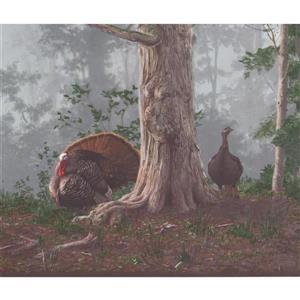 "Retro Art Wallpaper Border - 15' x 10.25"" -Wild Turkey in Shady Forest"