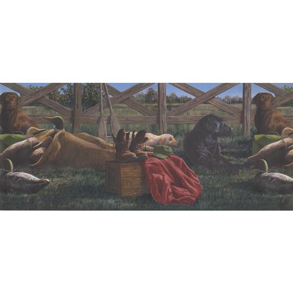 """Retro Art Wallpaper Border - 15' x 10.5"""" - Farmhouse Dogs -Multicolour"""