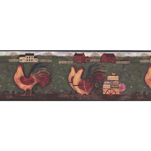 "Chesapeake Wallpaper Border - 15' x 8"" - Roosters with Egg Carriage"